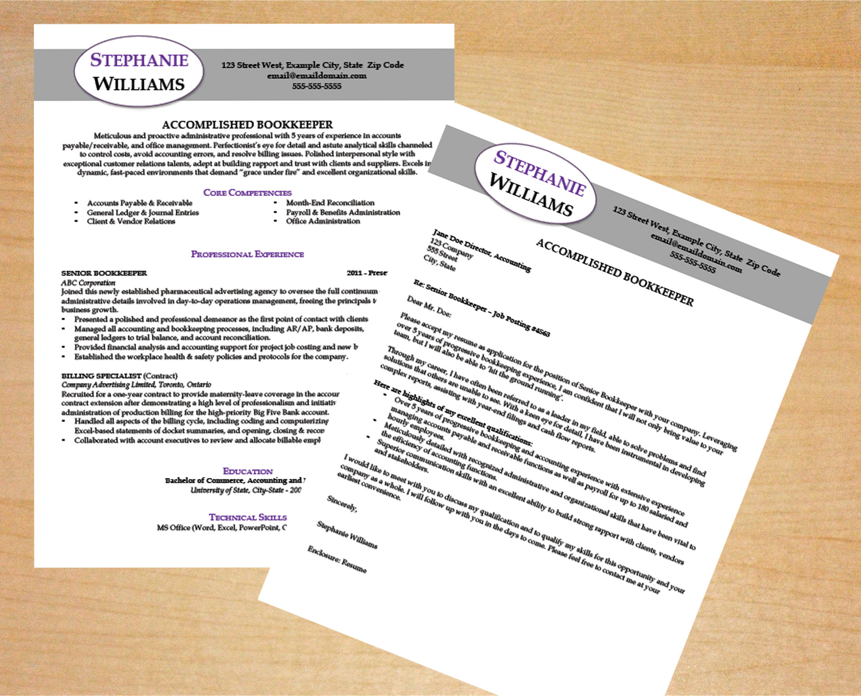 Bookkeeper Resume  Cover Letter Template