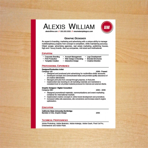 graphic designer resume template - Winning Resume Template