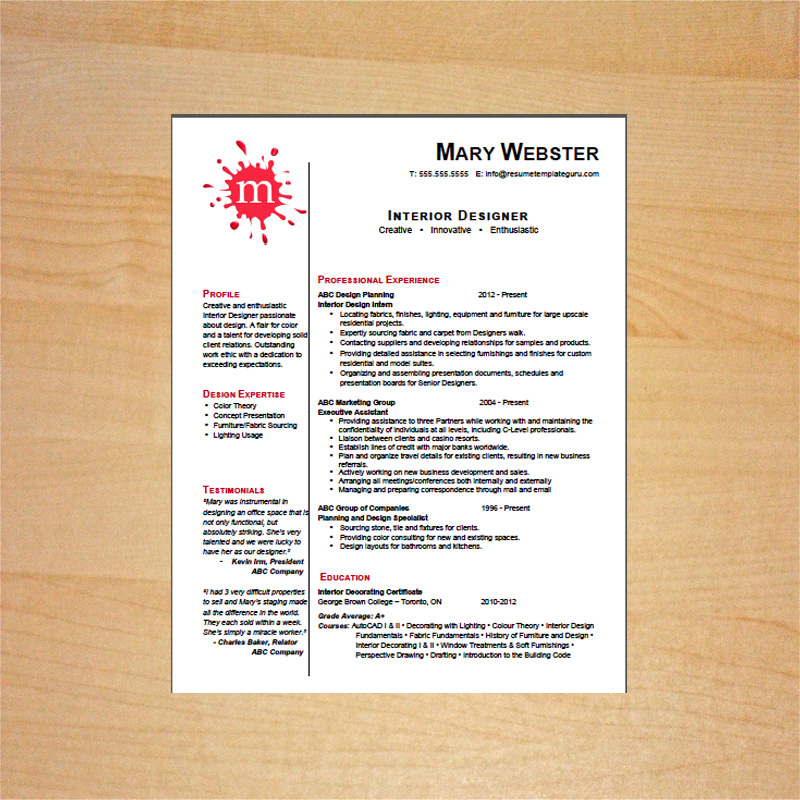 Resume Template Guru  Interior Design Resume Templates
