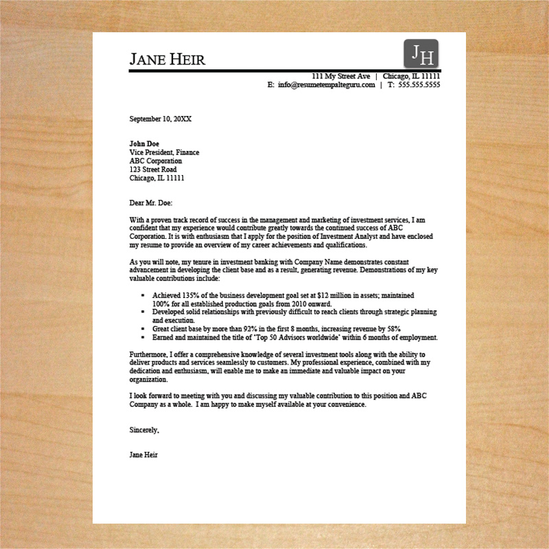 investment sales cover letter template